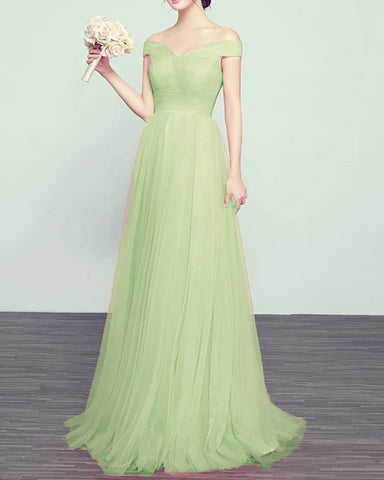 Image of Tulle Bridesmaid Dresses Sage Green