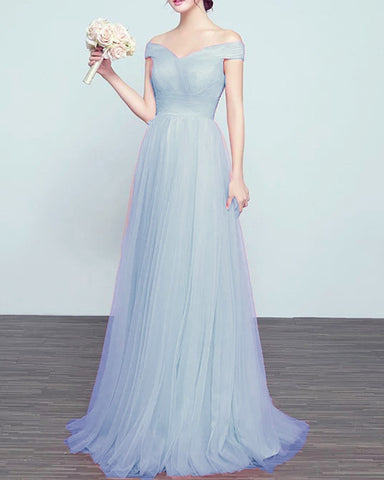 Image of Tulle Bridesmaid Dresses Steel Blue