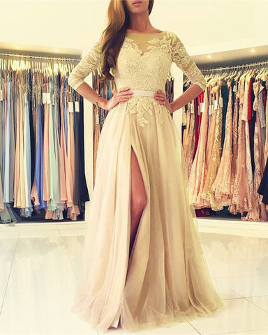 Image of Champagne Bridesmaid Dresses Lace Appliques