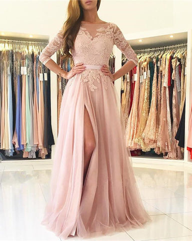 Image of Nude Pink Bridesmaid Dresses Lace Appliques
