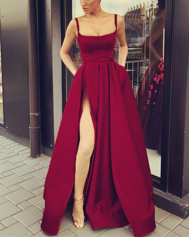 Image of Burgundy-Evening-Dresses-Long-Satin-Split-Prom-Gowns-2019