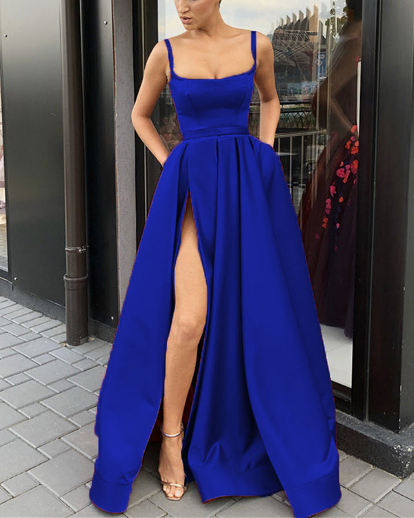 Long Satin Leg Slit Evening Dresses Spaghetti Straps Prom Gowns