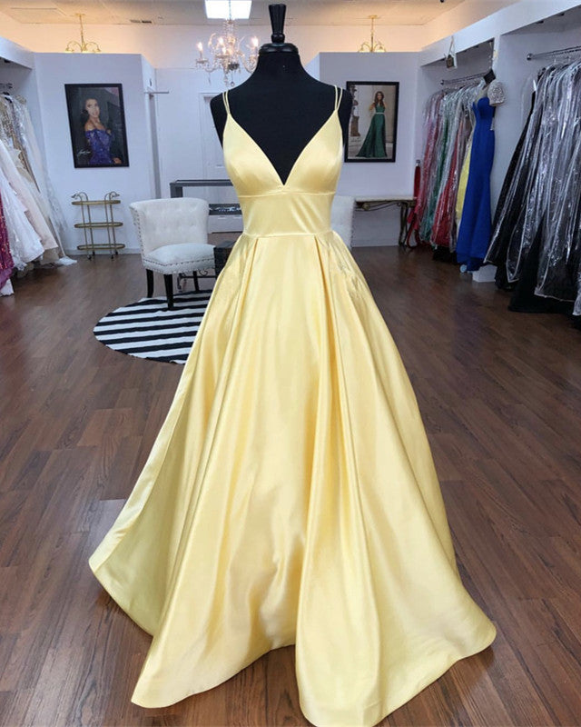 Straps V-neck Satin Long Prom Dresses