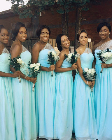 Image of Light Blue Bridesmaid Dresses One Shoulder