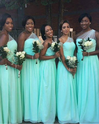 Image of Mint Green Bridesmaid Dresses One Shoulder