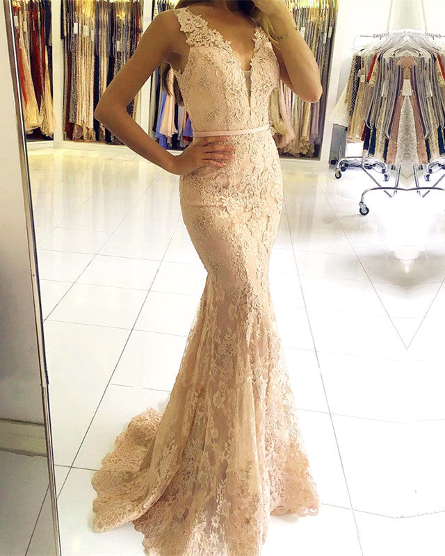 Sexy Nude Back Champagne Lace Mermaid Evening Dresses 2018. Double tap to  zoom b5337ed47