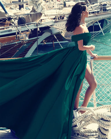 Image of Emerald Green Evening Off Shoulder Dresses