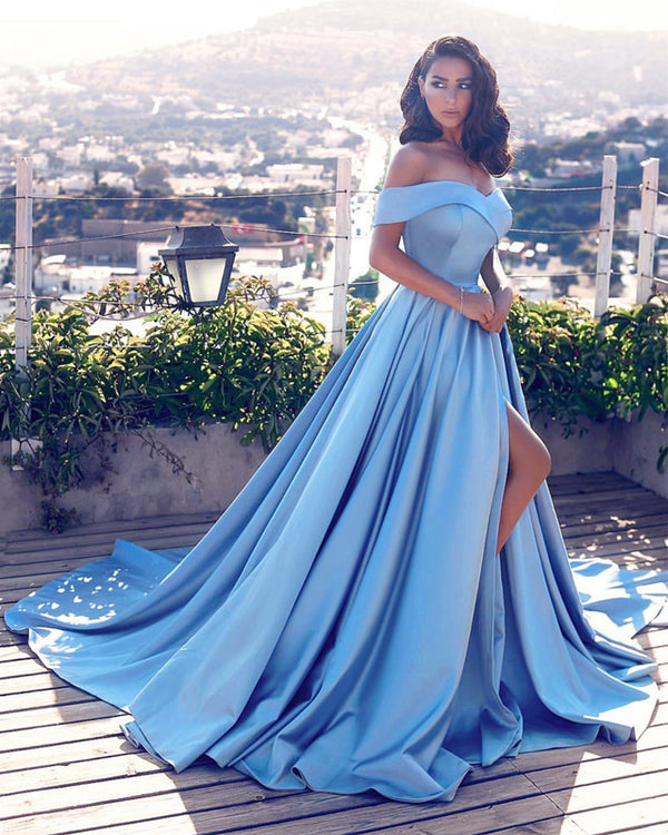 Long Prom Gowns Satin Off Shoulder Evening Dresses Front Slit