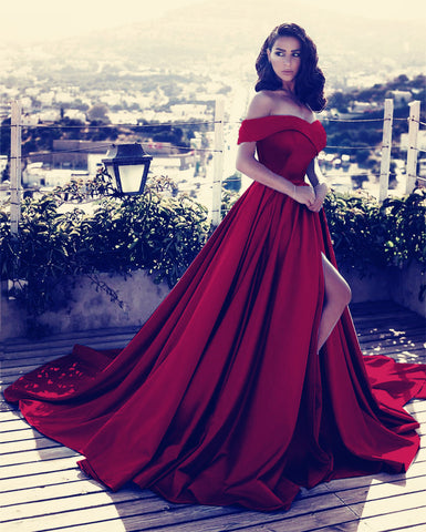 Image of Maroon Prom Long Dresses Leg Slit