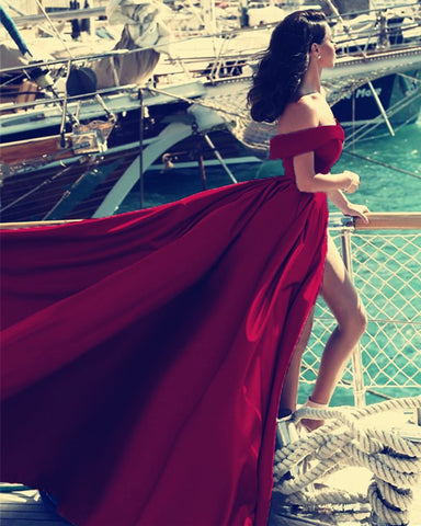 Image of Maroon Evening Dresses Long Satin Off The Shoulder