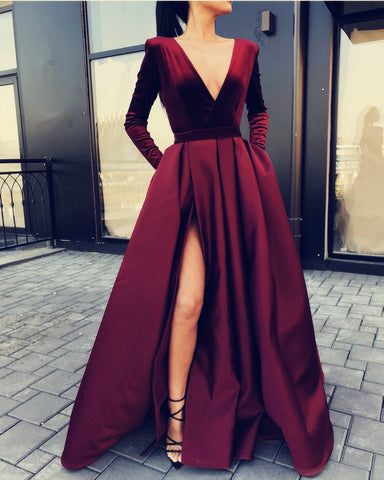 Image of Velvet Long Sleeves Evening Dresses Burgundy