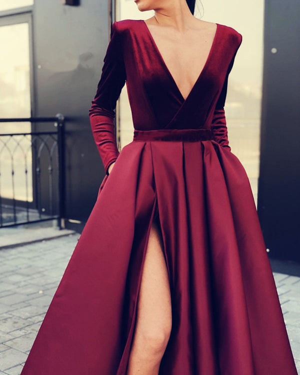 Velvet Sleeved Prom Dresses Leg Slit Satin Gown
