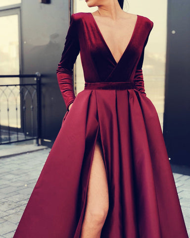 Image of Velvet Sleeved Prom Dresses Leg Slit Satin Gown