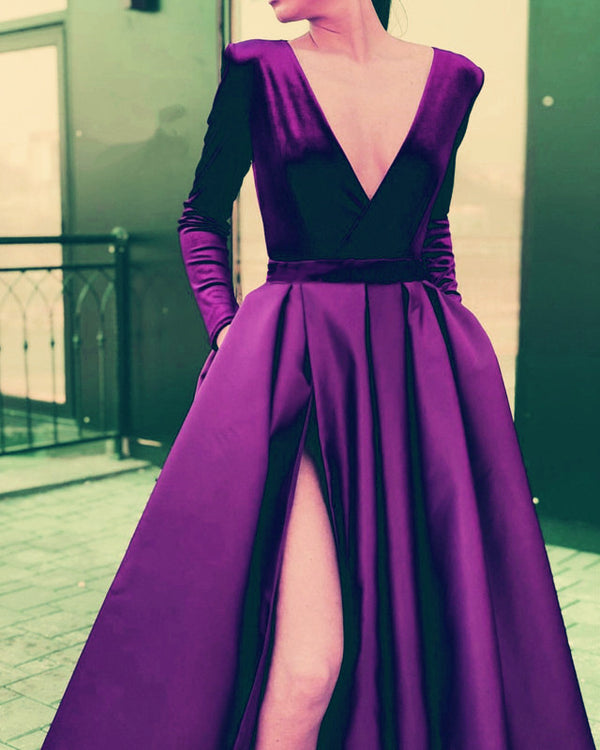 Purple Evening Dresses Velvet Long Sleeve