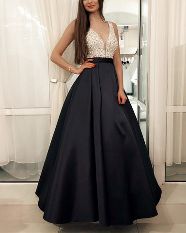 Image of Black-Evening-Dresses-Long-Satin-Beaded-Prom-Gowns