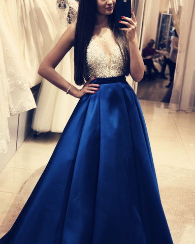 Plunge Neck Floor Length Satin Prom Evening Dress Sequin Beaded