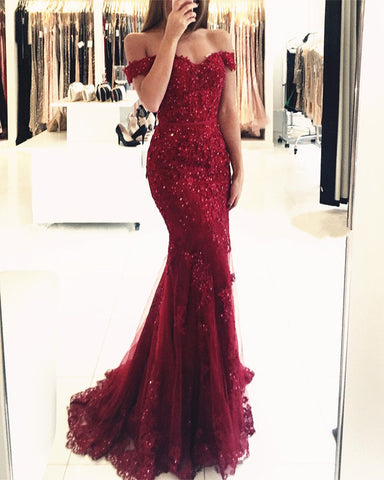Image of Maroon Lace Prom Mermaid Dresses