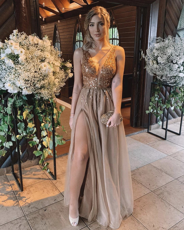 8858 Tulle Dresses Gold Sequin Beaded Gown