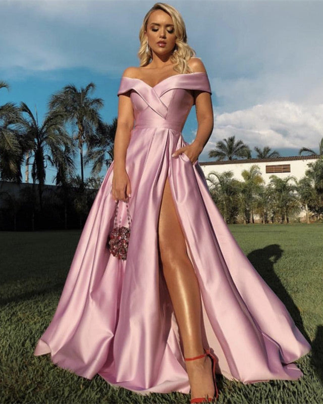 bbb21feb7fe Sexy Off Shoulder Long Pink Prom Dresses Leg Split. Double tap to zoom