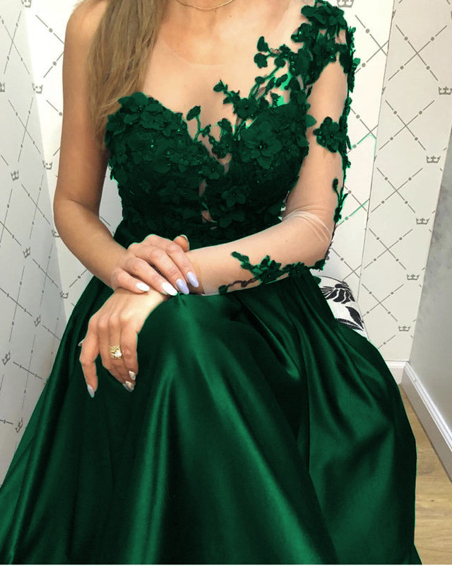 44670871f70 Lace Long Sleeves Satin Prom Evening Dresses One Shoulder. Double tap to  zoom