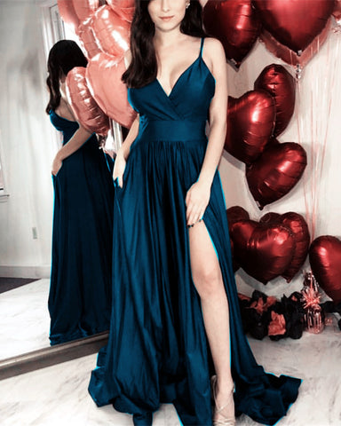 Image of Simple Prom Dresses Long Satin Split Evening Gowns