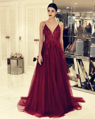 Image of Burgundy Tulle Evening Dresses Lace Appliques