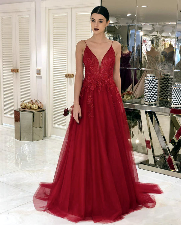 Red Tulle Evening Dresses Lace Appliques