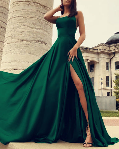 Image of Long-Satin-Backless-Prom-Dresses-2019-Emrald-Green-Evening-Gowns