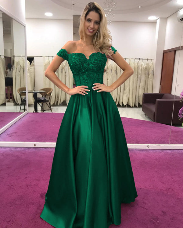 Green Long Prom Dress Lace Appliques