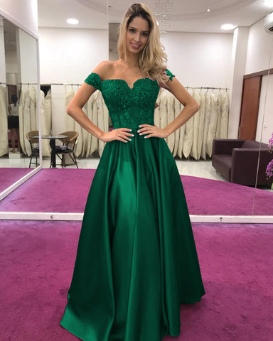 Image of Green Long Prom Dress Lace Appliques