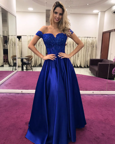 Image of Royal Blue Evening Dress Long Appliques Prom Gown