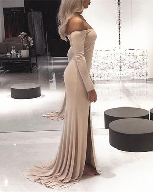 96b3524b3196 Sexy Leg Slit Jersey Off Shoulder Long Sleeves Mermaid Evening Dresses ...
