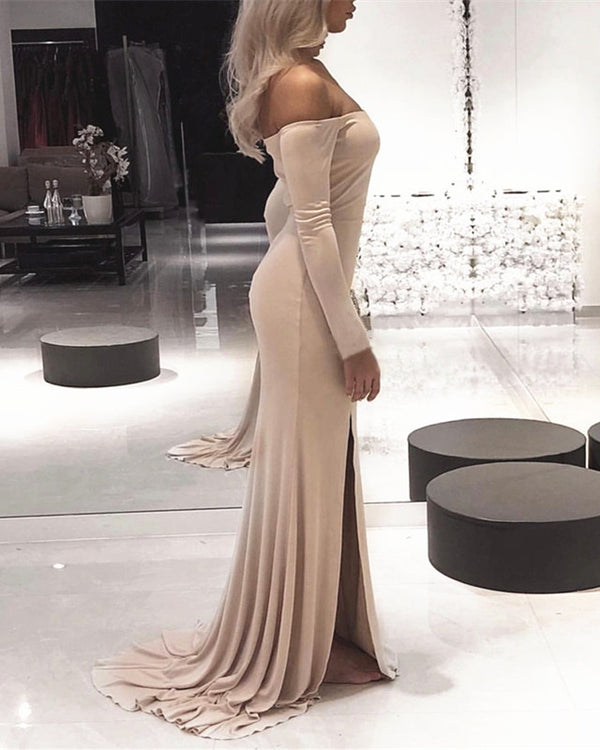 Sexy Leg Slit  Jersey Off Shoulder Long Sleeves Mermaid Evening Dresses