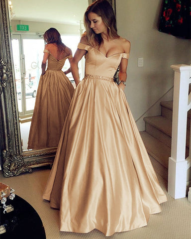 Image of Long-Champagne-Prom-Dresses-2019-Off-Shoulder-Evening-Party-Gowns