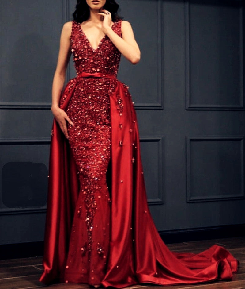 27bce204c26c ... Charming Crystal Beaded Lace V Neck Mermaid Evening Dress Removable  Skirt ...