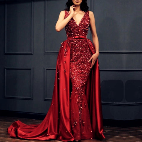 Image of Charming Crystal Beaded Lace V Neck Mermaid Evening Dress Removable Skirt