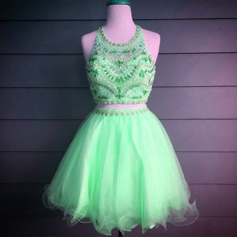 Image of Gorgeous Crystal Beaded Halter Top Organza Ruffles Homecoming Dresses Two Piece