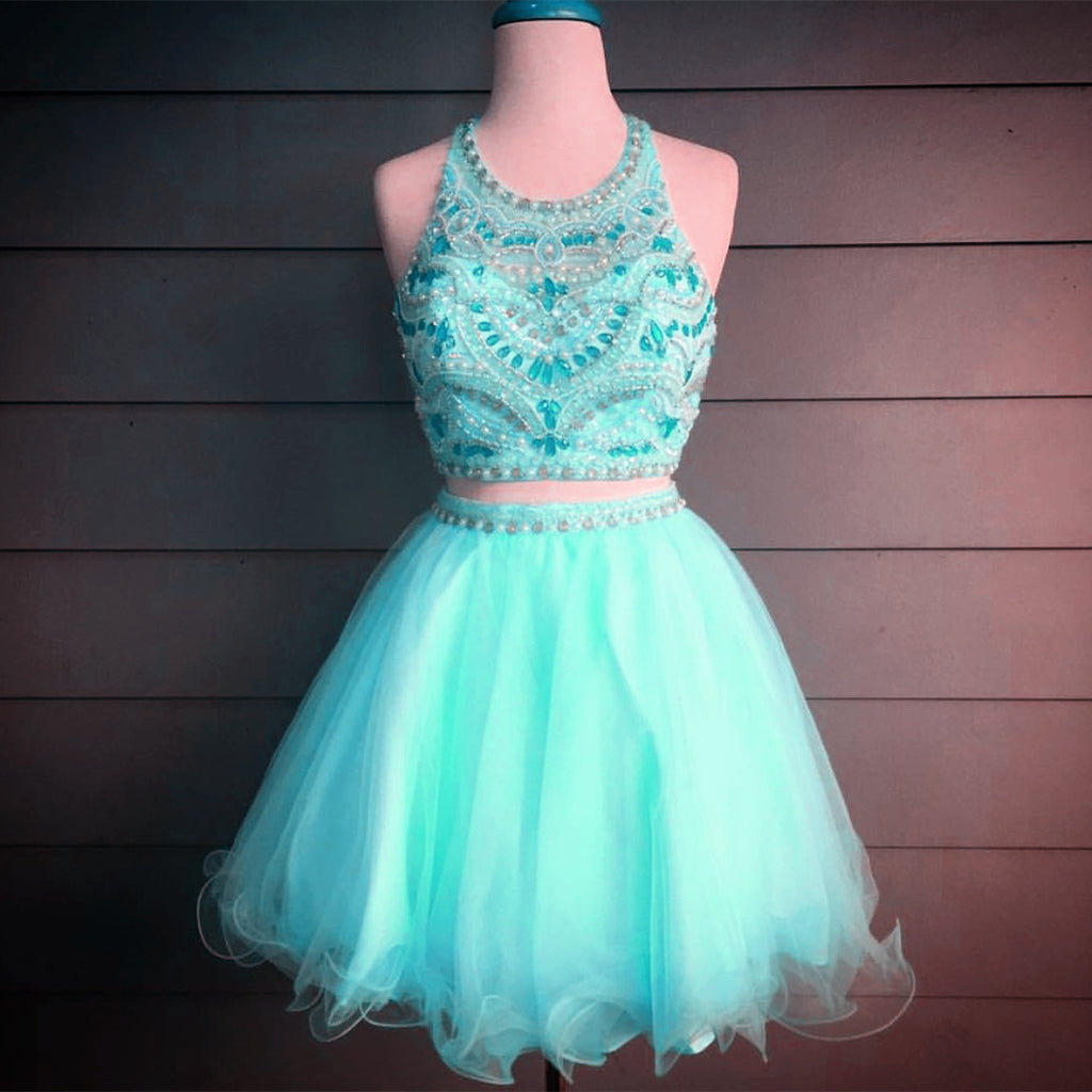 Gorgeous Crystal Beaded Halter Top Organza Ruffles Homecoming Dresses Two Piece