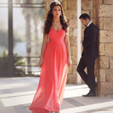 Long Rose Pink Chiffon Sweetheart Prom Dresses Lace Appliques
