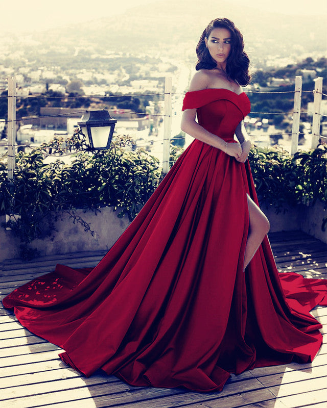 46ab7ccb0dd ... Off Shoulder Long Satin Prom Dresses 2019 Formal Evening Gowns ...