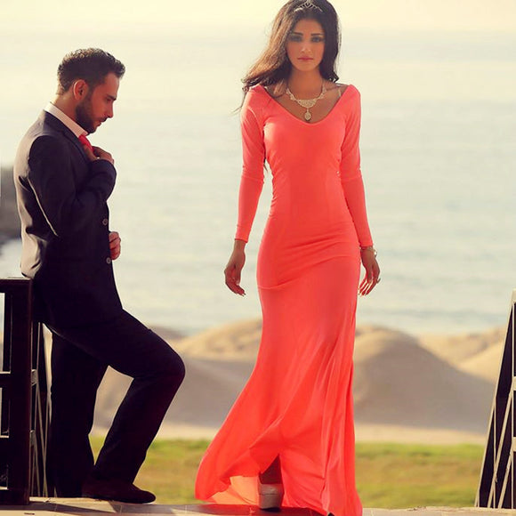 Coral Chiffon Long Sleeves Mermaid Evening Gowns