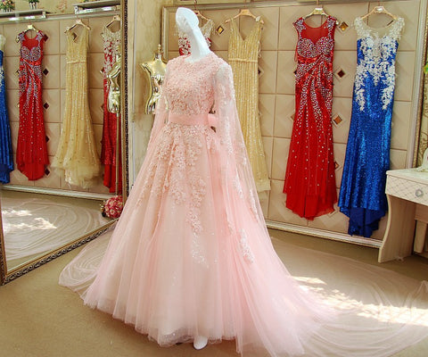 Image of Cape Sleeves Evening Dress Lace Embroidery Prom Gowns