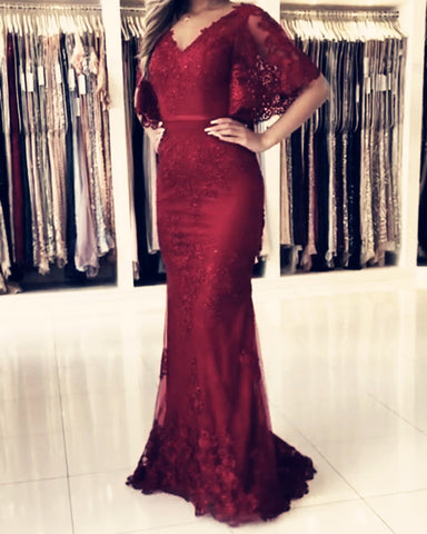 Image of Burgundy Lace Mermaid Prom Dresses