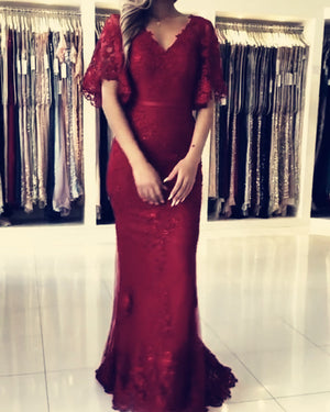 Burgundy Lace Mermaid Prom Dresses With Sleeves