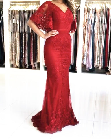 Image of Red Lace Mermaid Prom Dresses