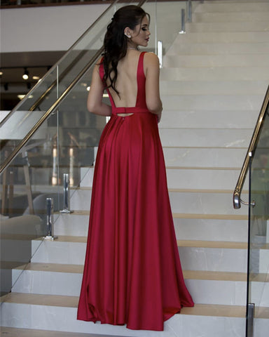 Red Backless Bridesmaid Dress