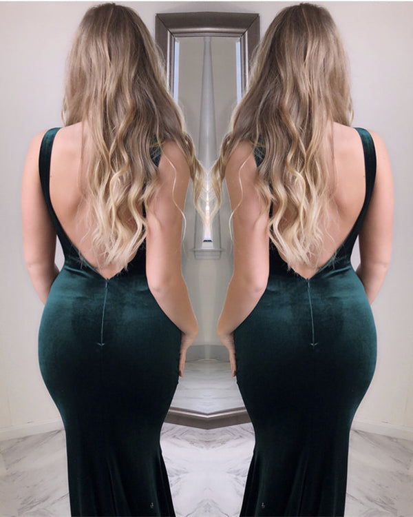 Open Back Velvet Mermaid Dress