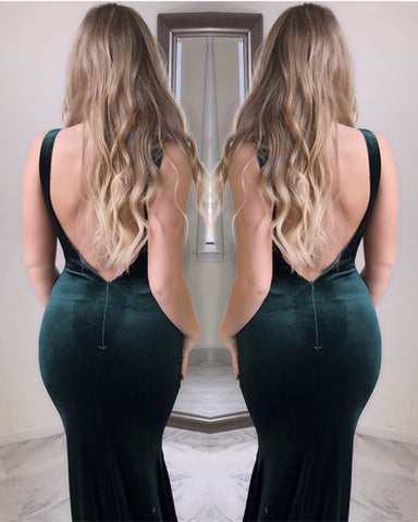 Image of Open Back Velvet Mermaid Dress
