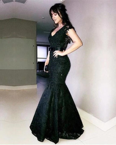 Image of V Neck Bow Sashes Black Lace Mermaid Evening Dresses