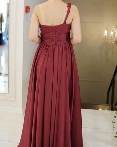 Sexy One Shoulder Bridesmaid Dresses Leg Split